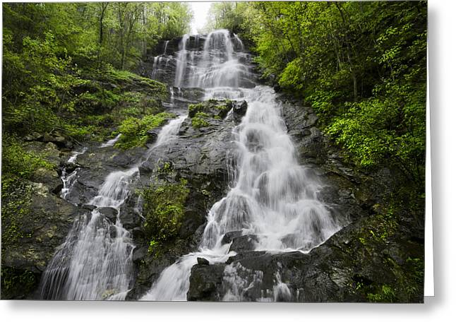 Whitewater Greeting Cards - Amicalola Falls Greeting Card by Debra and Dave Vanderlaan