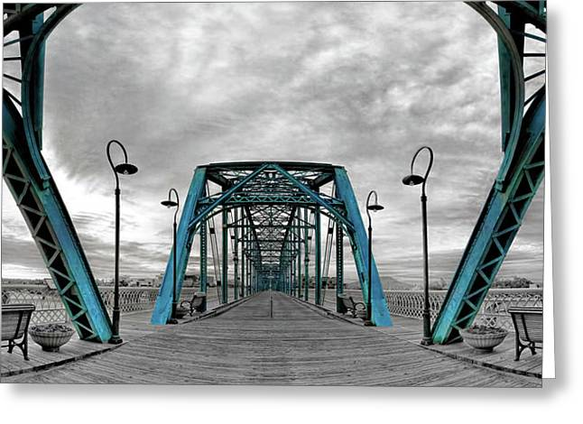 Duotone Greeting Cards - Amid The Bridge Greeting Card by Steven Llorca