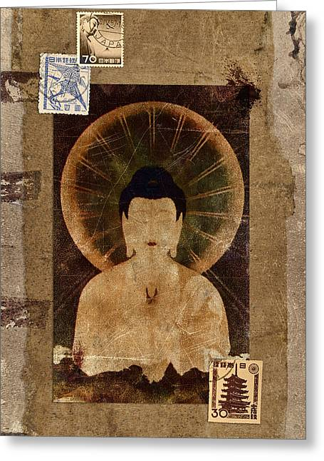 Amida Buddha Postcard Collage Greeting Card by Carol Leigh