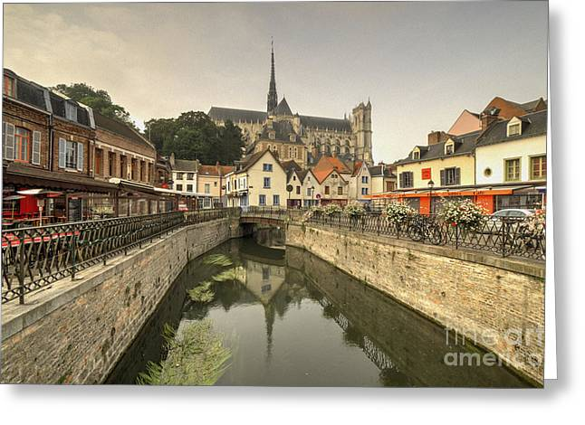 Amiens Greeting Cards - Amiens Reflections  Greeting Card by Rob Hawkins