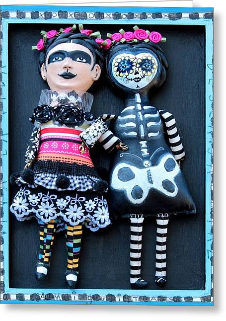 Face Sculptures Greeting Cards - Amiguitas Greeting Card by Lulu Moonwood Murakami