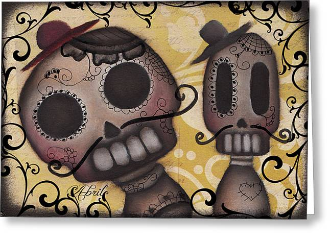 Halloween Folk Art Greeting Cards - Amiguitos Greeting Card by  Abril Andrade Griffith