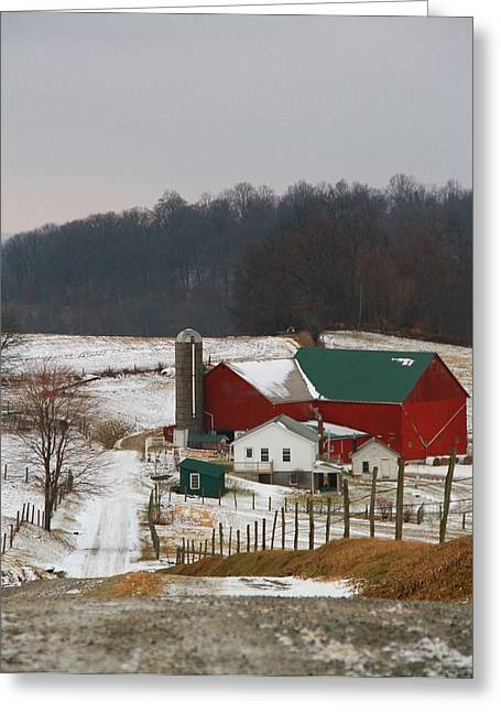 Red Barn In Winter Greeting Cards - Amish Barn In Winter Greeting Card by Dan Sproul