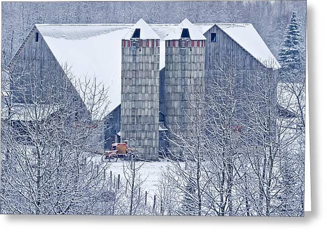 Winter In Maine Greeting Cards - Amish Barn Greeting Card by Jack Zievis