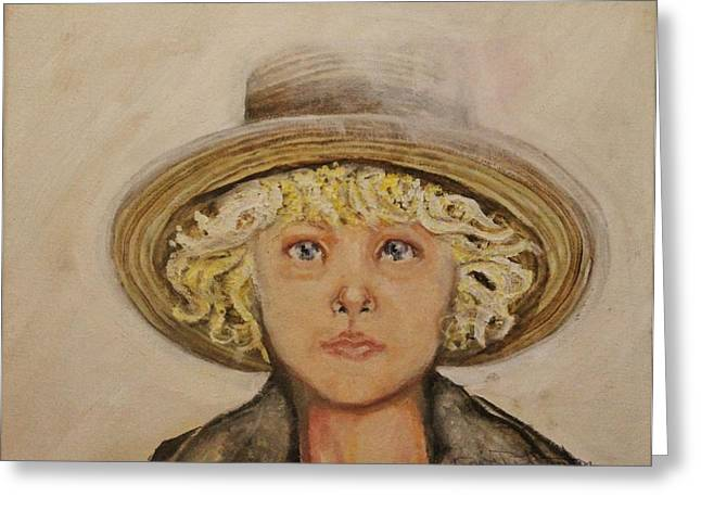 Portrait Of A Young Boy Greeting Cards - Amish Boy Greeting Card by Anne Buffington