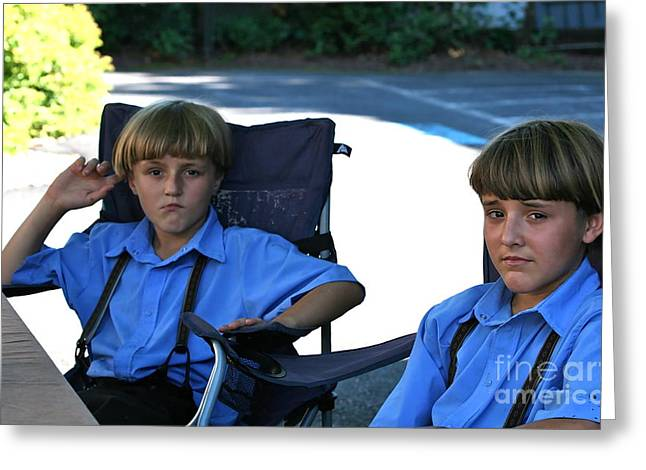 Amish Photographs Greeting Cards - Amish Brothers in Lancaster County PA Greeting Card by Maggie Vlazny