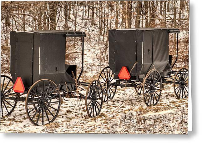 Amish Greeting Cards - Amish Buggies Greeting Card by Joe Granita