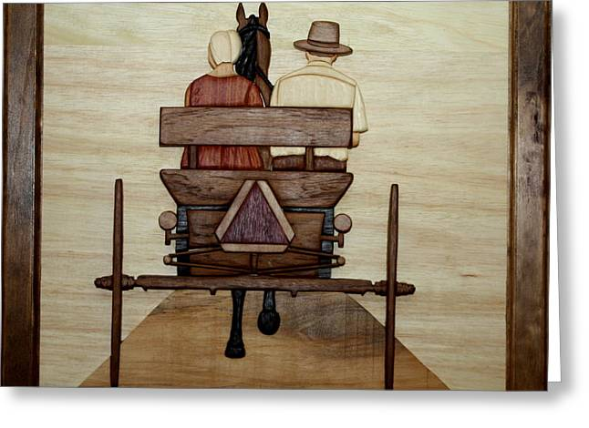 Wood Art Sculptures Greeting Cards - Amish Buggy Greeting Card by Bill Fugerer