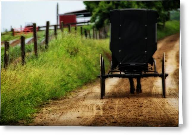 Amish Buggy On Dirt Road Greeting Card by Dan Sproul