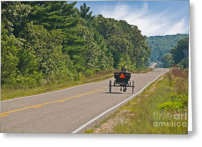 Amish Buggy Greeting Card by Richard and Ellen Thane