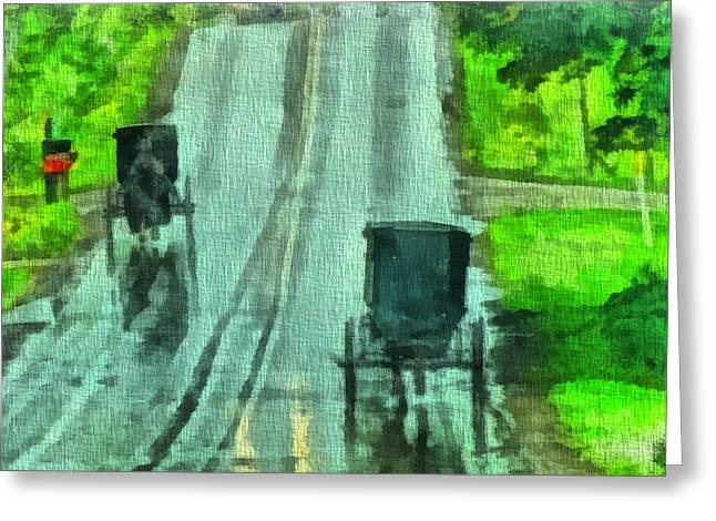 Horse And Buggy Paintings Greeting Cards - Amish Buggy Traffic Greeting Card by Dan Sproul
