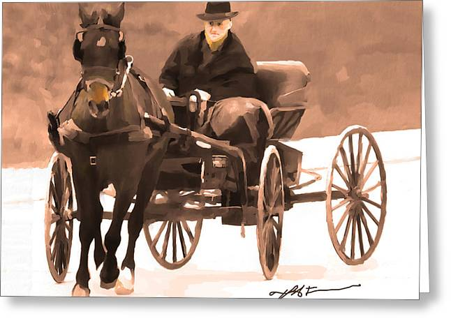 Amish Man Greeting Cards - Amish Carriage Greeting Card by Bob Salo