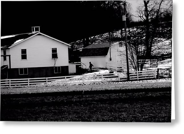 School Houses Greeting Cards - Amish Child Greeting Card by Dan Sproul