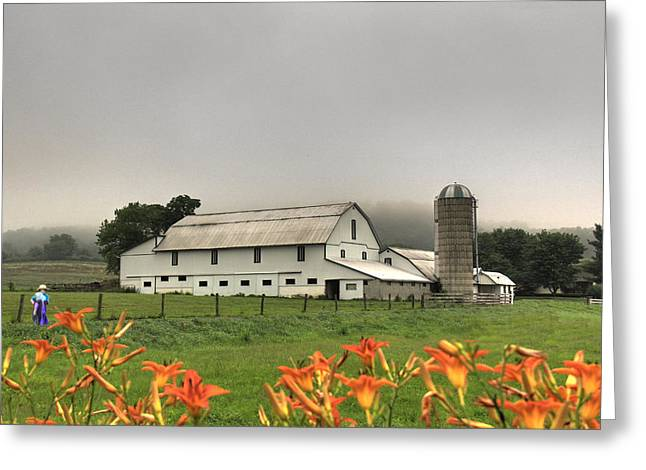 Barn Digital Greeting Cards - Amish Children Playing Greeting Card by Sharon Batdorf