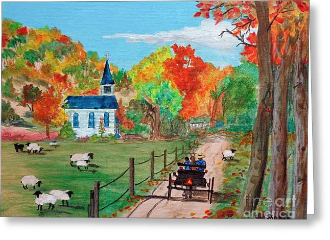 Amish Farms Paintings Greeting Cards - Amish Farm in Autum Greeting Card by Sharon  Woods