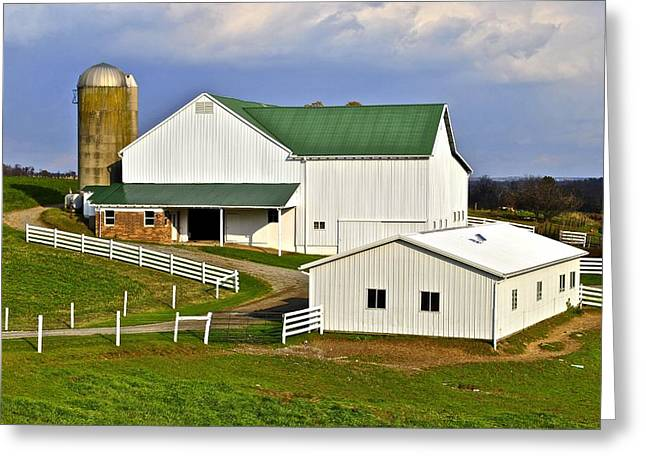 Cattle-shed Greeting Cards - Amish Country Barn Greeting Card by Frozen in Time Fine Art Photography