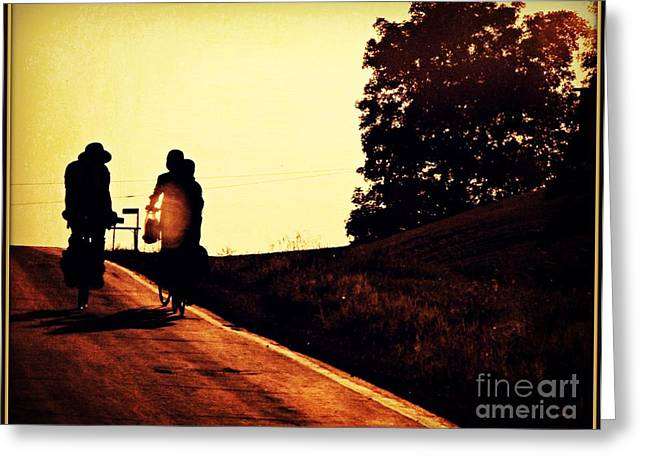 Amish Family Cycles Into Sunset Greeting Card by Beth Ferris Sale