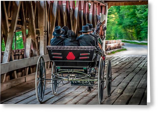 Amish Family Greeting Cards - Amish Family on Covered Bridge Greeting Card by Gene Sherrill