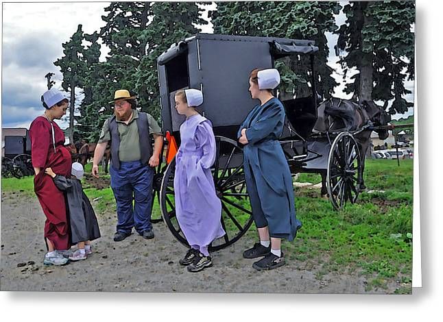 Amish Family Digital Art Greeting Cards - Amish Family Travelers Greeting Card by Brian Graybill