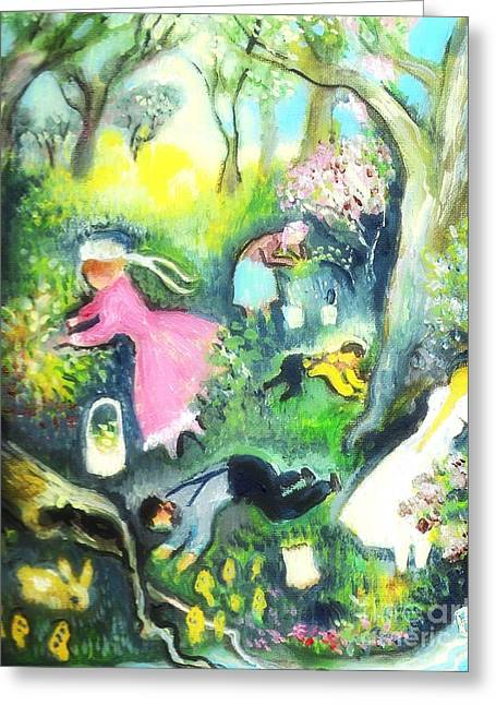 Amish Father Greeting Cards - Amish Familys Trip To The Woods Greeting Card by Barbara LeMaster