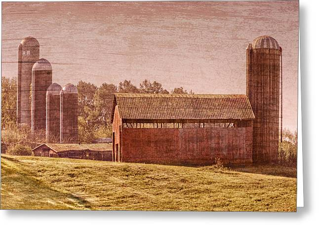 Amish Greeting Cards - Amish Farm Greeting Card by Debra and Dave Vanderlaan