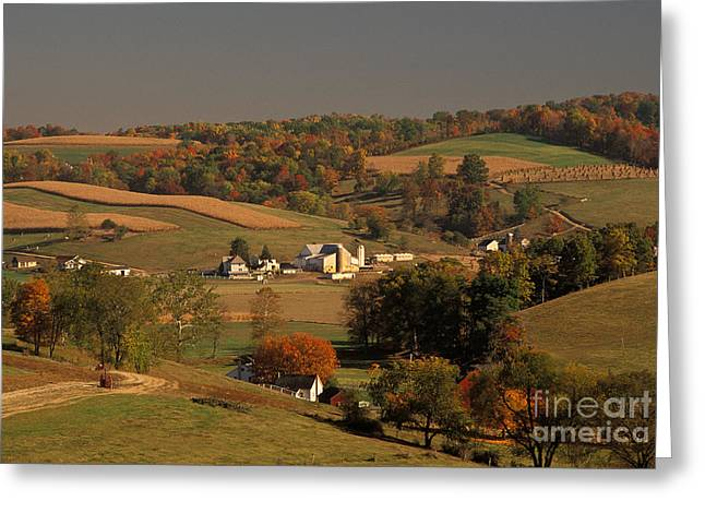 Amish Community Greeting Cards - Amish Farm In An Ohio Valley In The Fall Greeting Card by Ron Sanford