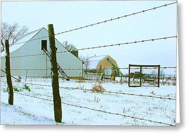 Amish Greeting Cards - Amish Farm in Winter Greeting Card by Julie Dant