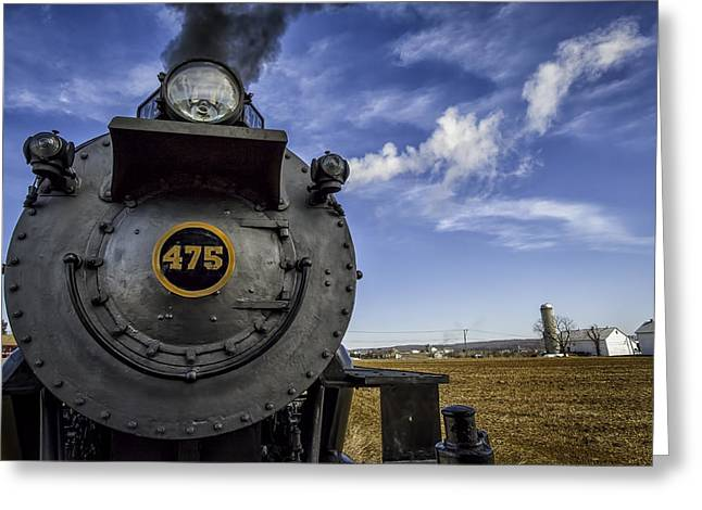 Amish farmland and Brilliant Blue sky frame #475 Steam Engine - Strasburg RR   02 Greeting Card by Mark Serfass