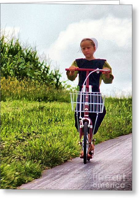 Amish Photographs Greeting Cards - Amish Girl Scooting in Lancaster Pennsylvania USA Greeting Card by Polly Peacock