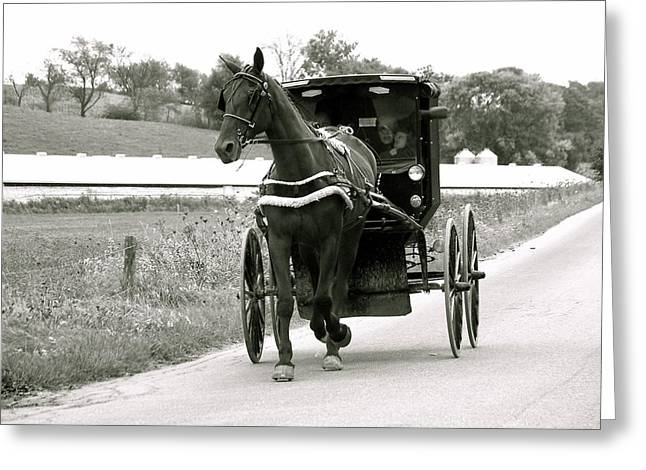 Horse And Buggy Greeting Cards - Amish Green Car Greeting Card by Ken Caldwell
