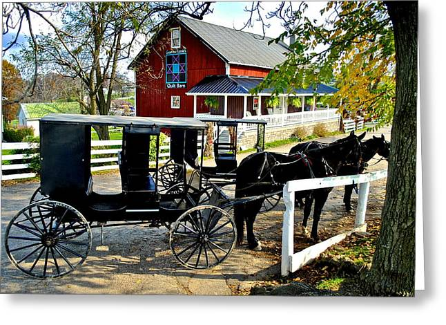 Pennsylvania Dutch Greeting Cards - Amish Horse and Buggy Greeting Card by Frozen in Time Fine Art Photography