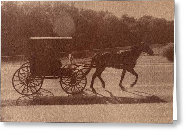 Horse And Buggy Mixed Media Greeting Cards - Amish Horse and Carriage Greeting Card by Scott Wittenburg