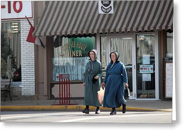 Amish Community Greeting Cards - Amish Ladies Go Shopping Greeting Card by R A W M