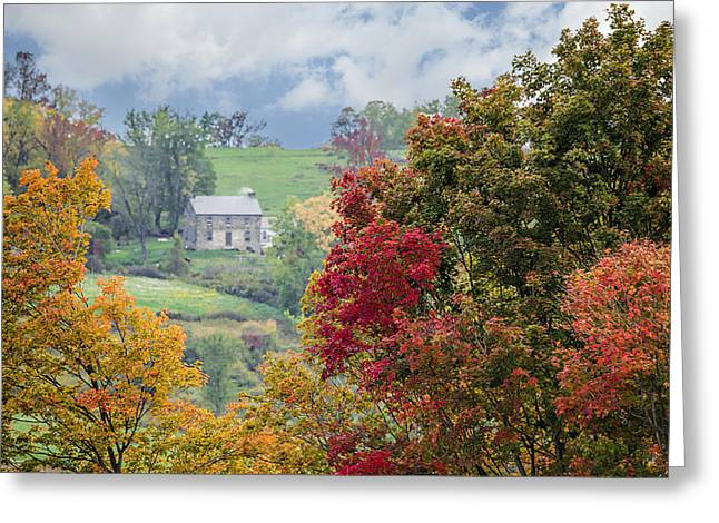 Amish Greeting Cards - Amish Landscape - Autumn - Trees Greeting Card by Sharon Norman
