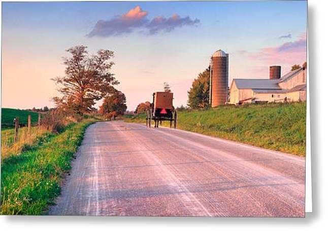 Field. Cloud Greeting Cards - Amish life Greeting Card by Emmanuel Panagiotakis