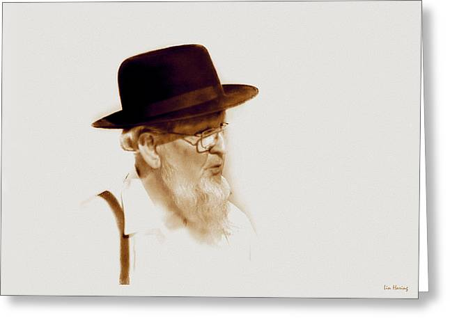 Suspenders Greeting Cards - Amish Man  Greeting Card by Lin Haring
