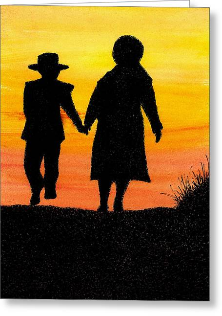 Amish Family Paintings Greeting Cards - Amish Mother and Son Greeting Card by Michael Vigliotti