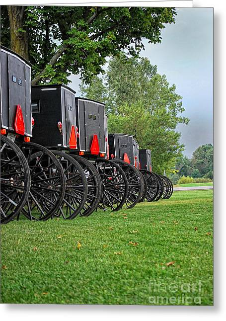 Amish Greeting Cards - Amish Parking Lot Greeting Card by Pamela Baker