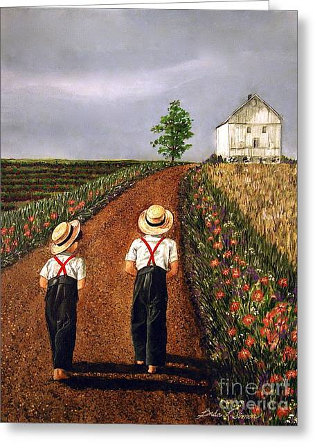 Kids Greeting Cards - Amish Road Greeting Card by Linda Simon