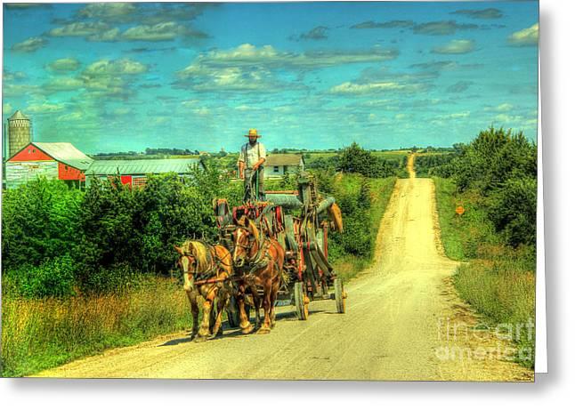 Amish Photographs Greeting Cards - Amish Road Greeting Card by Thomas Danilovich