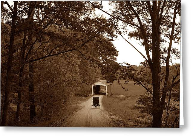 Amish Photographs Greeting Cards - Amish Rush Hour Greeting Card by John McAllister