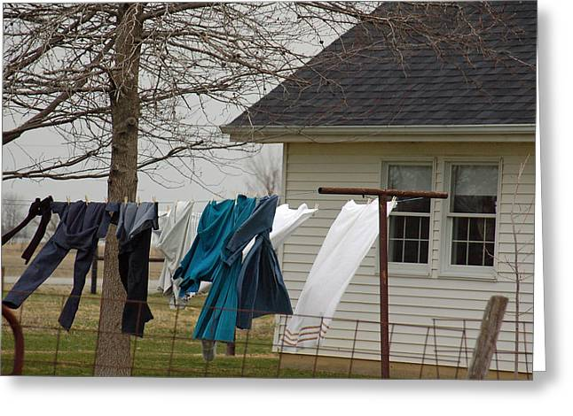 Rural Indiana Photographs Greeting Cards - Amish Washday - Allen County Indiana Greeting Card by Suzanne Gaff