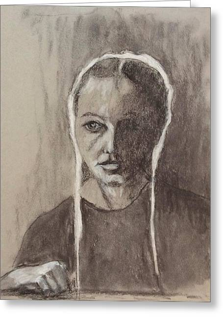 Amish Woman Grieving Greeting Card by Marcia Lara