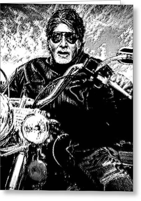 Amitabh Bachchan - God Of Entertainment Greeting Card by Piety Dsilva