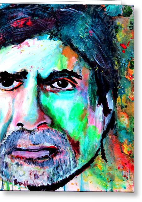 Indian Actor Greeting Cards - Amitabh Bachchan Watercolor by Minesh Pankhania Greeting Card by Minesh Pankhania