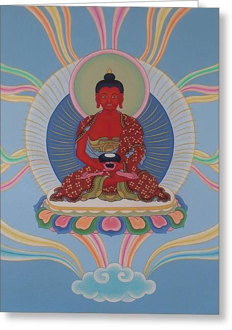 Tibetan Buddhism Greeting Cards - Amitabha Greeting Card by Andrea Nerozzi