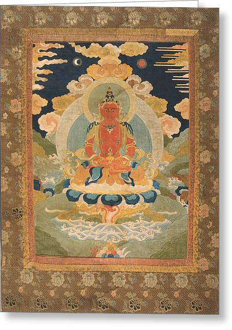 Historic Tapestries - Textiles Greeting Cards - Amitayus - the Bodhisattva of Limitless Life Greeting Card by Tilen Hrovatic