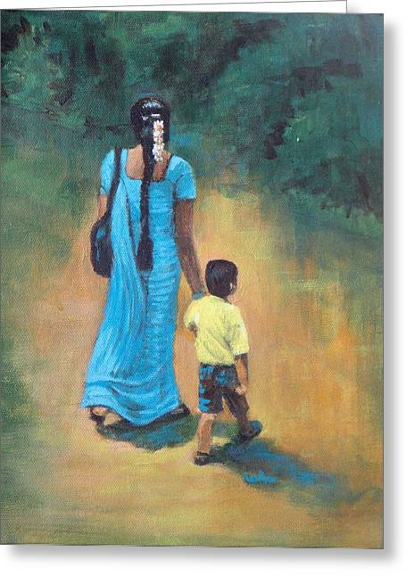 Amma's Grip Leads. Greeting Card by Usha Shantharam