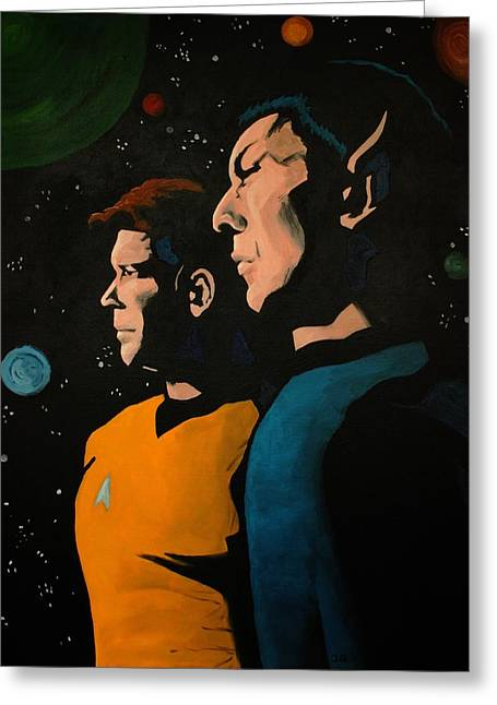 Roddenberry Paintings Greeting Cards - Among Stars Greeting Card by Judith Groeger