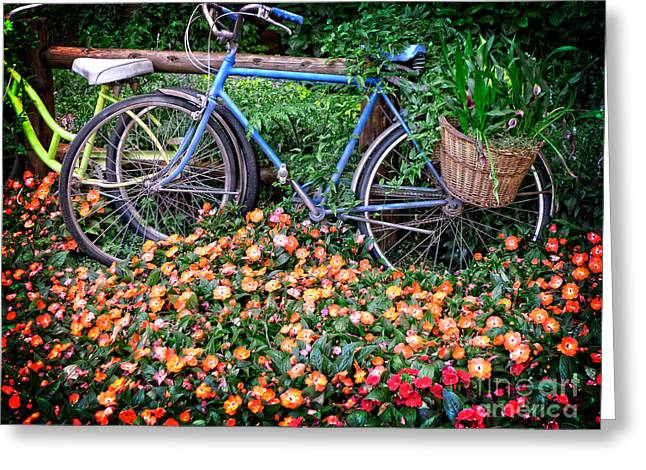 Flower Bed Greeting Cards - Among the Flowers Greeting Card by Edward Fielding
